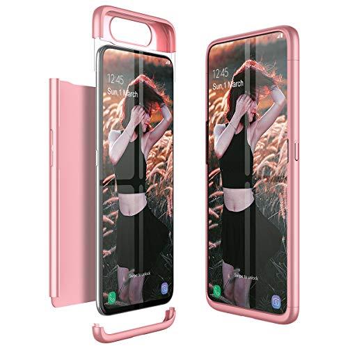 Winhoo Kompatibel mit Samsung Galaxy A80 Hülle Hardcase 3 in 1 Handyhülle 360 Grad Schutz Ultra Dünn Slim Hard Full Body Hülle Cover Backcover Schutzhülle Bumper - Rose Gold