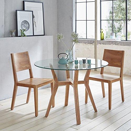 Table à Manger Ronde en Bois de Teck vitrée 4 Couverts