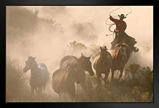 Cowboy Rounding Up Herd Wild Horses Photo Cool Wall Art Black Wood Framed Poster 14x20