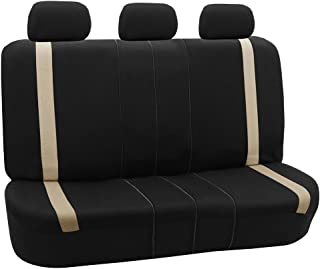 FH Group FH-FB054013 Beige Cosmopolitan Flat Cloth Seat Covers, Airbag Compatible and Split Bench, Beige/Black Color -Fit Most Car, Truck, SUV, or Van