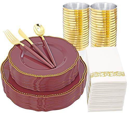 Nervure 175pcs Purple plastic Plates with Gold Trim&Gold Plastic Silverware with Mauve Handle - 25Dinner Plates 25Dessert Plates 75Cutlery set 25Cups 25Napkins Party &Wedding Supplies