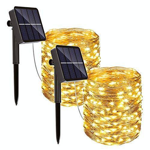 REDSTORM - Guirnalda luminosa solar para exterior, 20 m, 2 x 200 LED, impermeable, 8 modos, decoración de luz para jardín, balcón, terraza, patio, casa, boda (blanco cálido)
