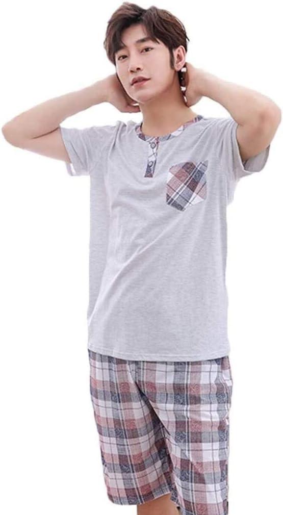 Fashion Pajamas Set Men's Short Pyjama Set Casual Cotton Nightwear Summer Plaid Sleepwear Loungewear (Color : B, Size : XXXXL)