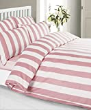 Louisiana Bedding Vertical Pink & White Stripe Duvet Cover Set 100% Cotton 200 Thread Count-Double
