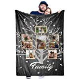 Personalized Family Tree Blanket with 8 Photos Custom Blanket with Pictures Customized Throw Gifts for Mom Grandma Birthday Anniversary, Multi Colors Available, 40'x50'