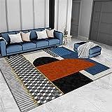 alfombras habitacion Matrimonio Dormitorio Alfombra Corta Pila Tinte Resistente Gris Blay Naranja Rectángulo Azul Alfombra Suelo Alfombra de Salon 180X280CM 5ft 10.9