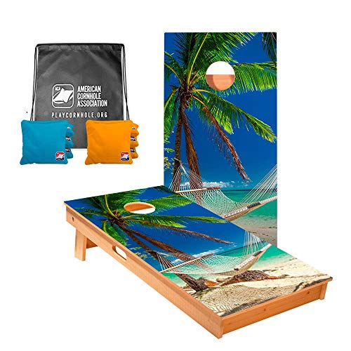 ACA American Cornhole Association - 2x4 Star Nature Professional Cornhole Boards - Star Hammock on The Beach with Corn Filled Turqouise and Yellow Bags