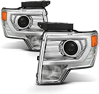For [HALOGEN UPGRADE] 2009-2014 Ford F-150 F150 Light Duty Pickup Truck Chrome Clear Projector Headlights Pair Set