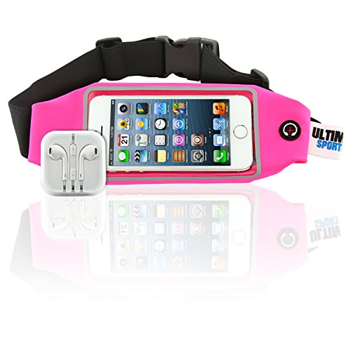 Ultimate Sports Pro Running Waist Pack with Earbuds for Women + Men - Pink Lycra Fitness & Exercise Fanny Expandable Belt Best as Sweat Resistant Money Bag and Runner Travel Pouch - 4.7 Inches