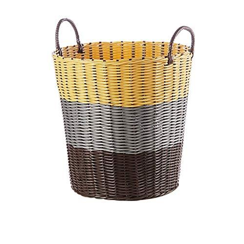XYZMDJ Large Cotton Rope Basket Storage with Handles - Chevron Grey Woven...