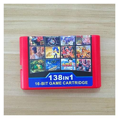 CS 138 en 1 (1g) Cartucho de Juego con Luchador (16 Roles) Calle de RAGE1 / 2/3 Golden Axe1 / 3 Thunder Force para Sega Genesis MEGADRIVE (Color : Black)