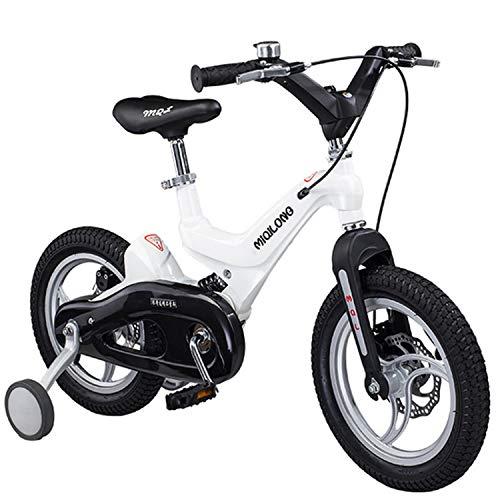Bospyaf Kinderfahrräder, Jungen Und Mädchen Fahrräder, Sicher Und Leicht, 14/16 Zoll Kinder Stoßabsorbierenden Fahrrad (Weiß),16 inch