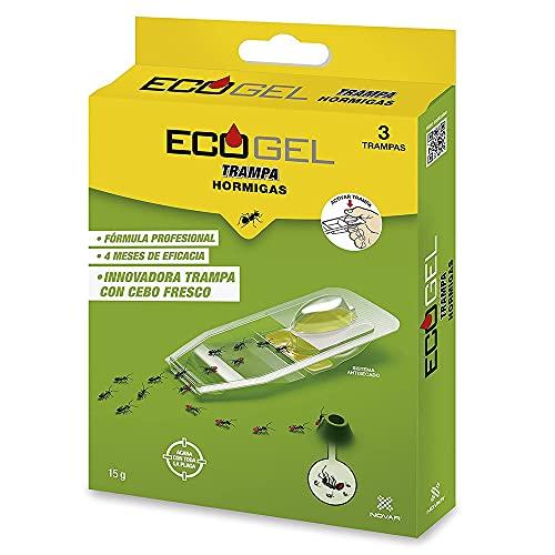 NOVAR 4032 Ecogel Trampa Hormigas Trampa con Cebo máxima atracción Hormigas Caja de 3 Trampas 15 Gramos