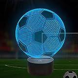 Lampada per illusione ottica 3D di calcio notturno per bambini con 7 colori che cambiano calcio Idea...