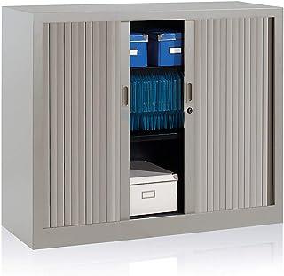 EOL Armoire basse à rideaux - 2 étagères- L x H x P : 120 x 100 x 43 cm - gris clair - Armoire de bureau mobilier de burea...