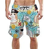Pantalones cortos de secado rápido de cobayas de pirata, bañador de voley, playa. Blanco blanco XXL