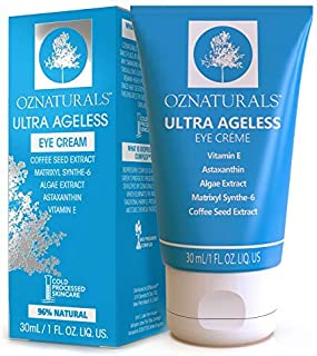 OZNaturals Anti Aging Eye Cream: Ultra Ageless Eye Creme for Men & Women - Under Eye Cream Treatment for Bags, Wrinkles, Crows Feet, Dark Circles, and Puffiness - Day and Night Wrinkle Cream - 1 Fl Oz