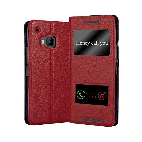 Cadorabo Hülle für HTC One M9 in Safran ROT – Handyhülle mit Magnetverschluss, Standfunktion & 2 Sichtfenstern – Hülle Cover Schutzhülle Etui Tasche Book Klapp Style