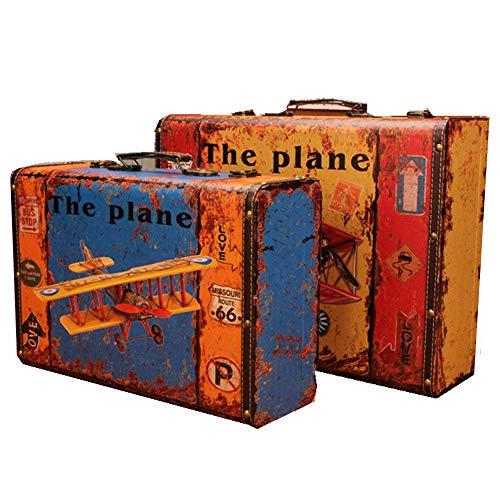 yaunli Caja de Madera Decorativa 2pcs Caja de Almacenamiento de Madera de época Maleta Retro Maletas decoración Caja de Almacenamiento Caja de Madera Decorada a Mano Vintage