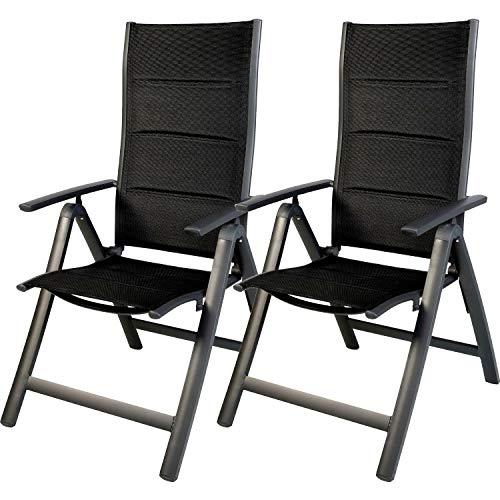 FineHome 2er Set Comfort Gartenstuhl Hochlehner gepolstert 6-Fach verstellbar Aluminium zusammenklappbar witterungsbeständiges