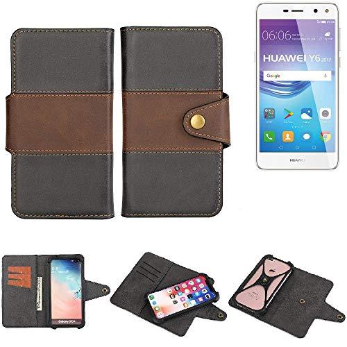 K-S-Trade® Handy-Hülle Schutz-Hülle Bookstyle Wallet-Case Für -Huawei Y6 2017 Single SIM- Bumper R&umschutz Schwarz-braun 1x