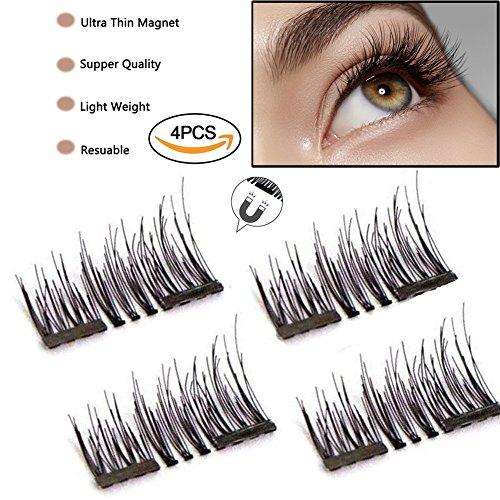 ABCDOK 3D False Magnetic Eyelashes, Mess-Free Reusable Lashes Beautiful Natural Enhanced Eyes, Volumized Lashes (1 Pair, 4 Pcs) (1 set) Ultra thin Fiber for Natural Look,Best Fake Lashes