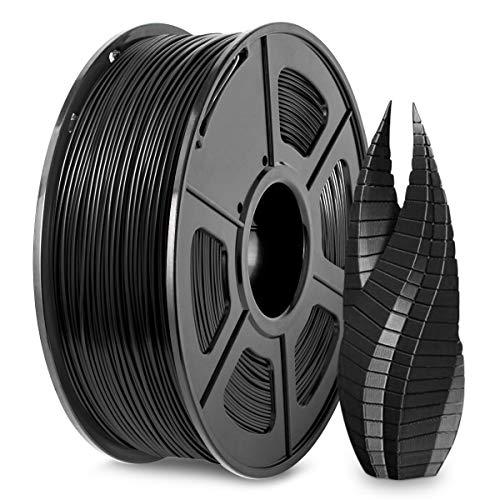 PLA Filament, 3D Printer Filament 1.75mm, Dimensional Accuracy +/- 0.02 mm, 1 kg Spool, PLA Black