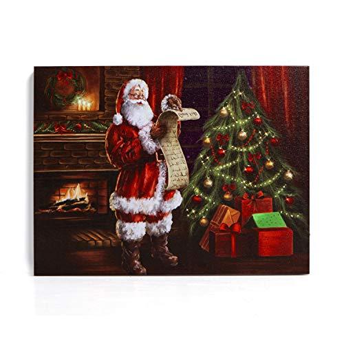 NIKKY HOME Decorazioni natalizie su tela illuminate a LED Stampe su tela per decorazioni natalizie, Babbo Natale 40 x 30 CM