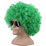 Yuehong Short Fluffy Disco Afro Wigs Synthetic Anime Cosplay Fancy Funny Wigs for Unisex Men Women (Green)