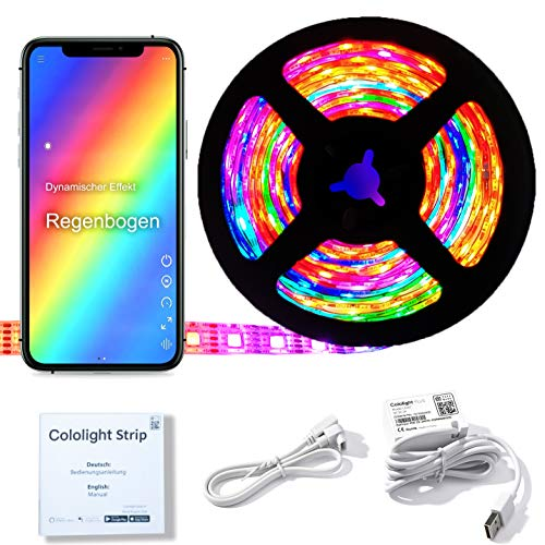 Cololight LED STRIP 60 - RGB Leuchtstreifen, WLAN, kompatibel mit Apple Homekit, Alexa, Google Home, jede LED andere Farbe (60 LEDs pro Meter, Starter Set 2m)