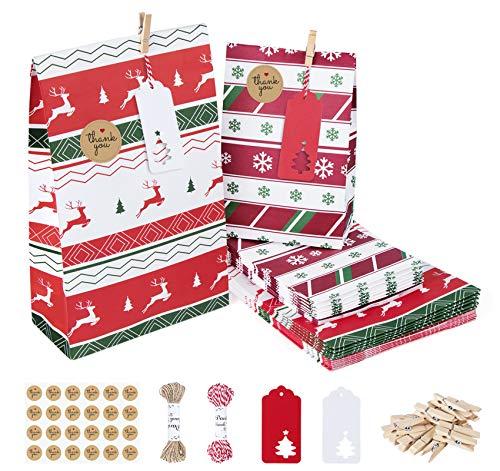 Agoer 24 Sacs Cadeaux de Noël à remplir soi-même avec des sachets en Papier à remplir soi-même pour Les Loisirs créatifs, Petits Objets Faits Maison, Aliments pour fêtes de Noël