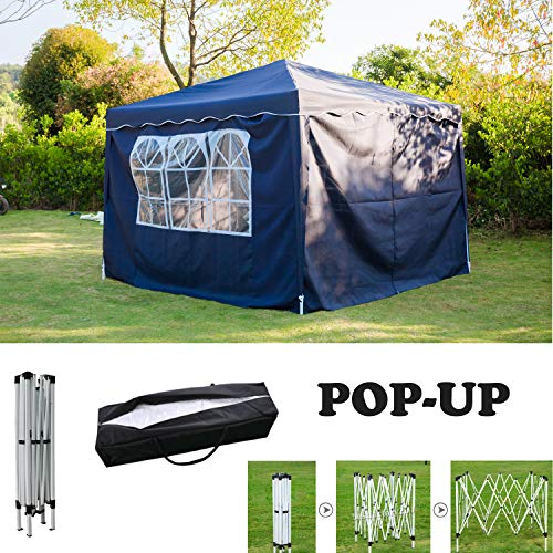 AutoBaBa 3x3M Blue POP UP Garden Gazebo with Sidewalls Marquee Party Tent Canopy for Wedding Camping BBQ, PVC coated, Fully Waterproof, with Carry Bag