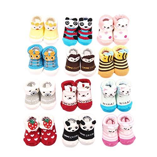 Value Buy Go Go Go Lot de 12 paires de chaussettes antidérapantes en coton pour nouveau-né