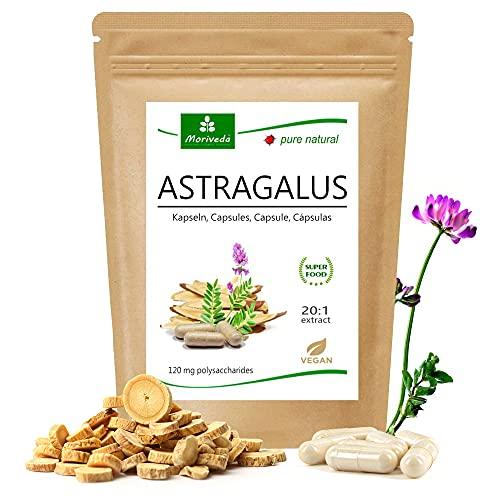 MoriVeda® - Astragalus Kapseln (112 mg Polysaccharide und 0,8 mg Glucoside) Tragant Tragacantha Membranaceus Wurzelpulver – 100% veganes Qualitätsprodukt (1x90 Kapseln)
