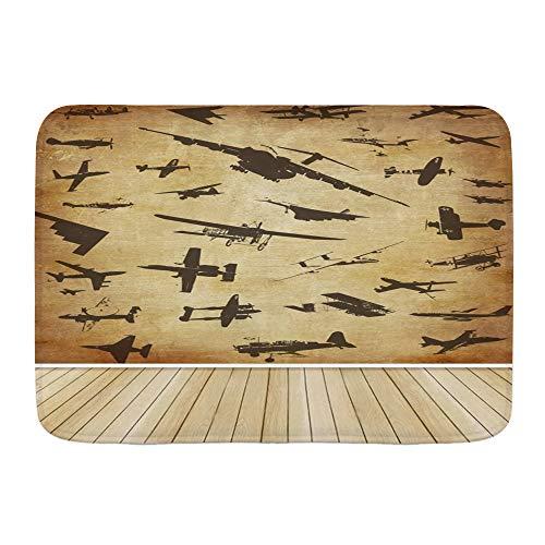 DAOPUDA Antideslizante Alfombra de baño,Retro Aviones Aviación Tema Niños Cumpleaños Aviones de Batalla Aviones Suelo de Madera,Altamente Absorbente Alfombrilla de Piso para Dormitorio Baño Salon