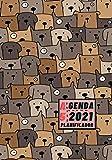 Agenda 2021 Planificador A5: Diseño de Portada Perros Marrón - Bonitas Agendas con Planificador semanal y mensual - Pequeña y de bolsillo para ... eventos y fechas importantes a semana vista