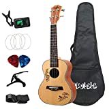 JISKGH Kits de Ukelele de 23 Pulgadas, Ukelele AcúStico de Madera de Abeto, Instrumento Musical de Guitarra Hawaiana de 4 Cuerdas con Bolsa para Principiantes