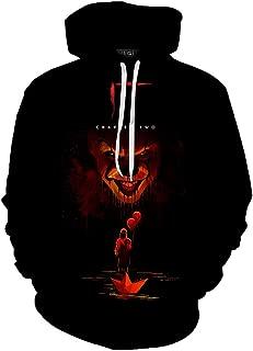 Unisex 3D Stephen King's It Hoodies Horror Clown Pennywise Halloween Cosplay Sweatshirt