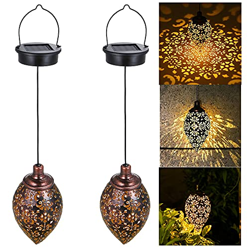 Tomshin-e Solar Lantern Light Outdoor Hanging Garden Lights Metal Lamp Outdoor Decorations for Patio Yard,Porch,Lawn,Courtyard,Art Garden Accessories