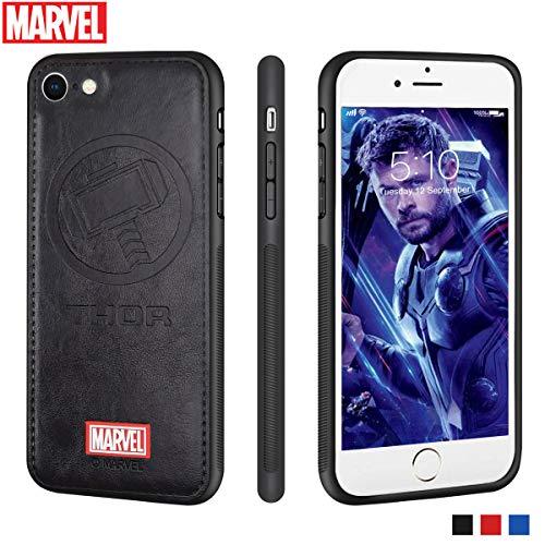 Marvel Avengers iPhone Leather Case Protective Cell Phone Case for Apple iPhone 8 / iPhone 7 Marvel Avengers Comic Super Hero Inspired Series 3D Premium Scratch-Resistant (Captain America)