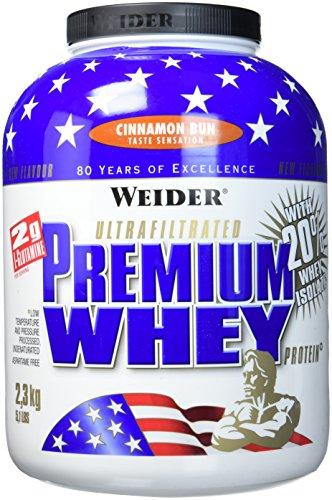 Weider Premium Whey Proteinpulver, Low Carb Proteinshakes mit Whey Protein Isolat, Cinnamon Bun (1x 2,3 kg):