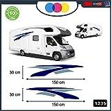 Stickers muraux adhésifs pour camping-car pour les parties latérales - Courbes et lignes fantaisie - décoratifs - cod. 1235 Blu-Grigio