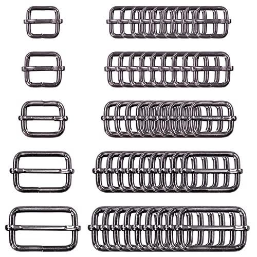 Swpeet 50Pcs Gun-Black Metal Rings Metal Rectangle Adjuster Triglides Slides Buckle, Roller Pin Buckles Slider Strap Adjuster Keychains - 1/2 Inch, 3/4 Inch, 1 Inch, 5/4 Inch, 5/8 Inch