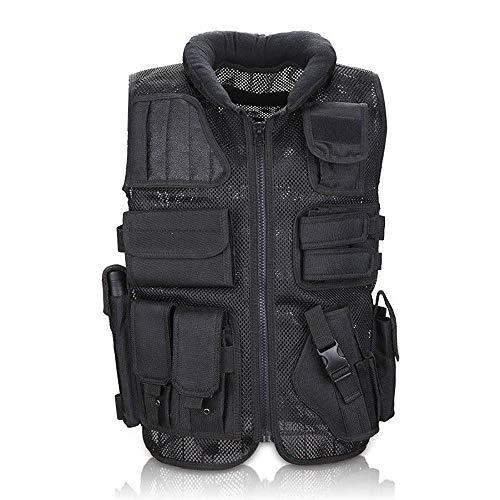 Mlite Gilet Militaire Tactique CS, équipement de Protection au Combat pour la pêche, Gilet Tactique de Paintball, Noir