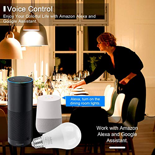 5 Best smart light bulbs for google home (Reviews) in 2021   WiFi/Cloud Enabled Smart LED Bulb Alexa & Google Home Compatible Dimmable Multicolor & Multi-White RGBW 7W (60W Equiv.) E26/27 Voice & App Control Music Sync and Timer Control Several Bulbs w/ One App