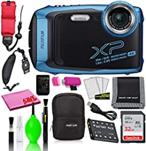 Fujifilm FinePix XP140 Waterproof Digital Camera (Sky Blue) Accessory Bundle with 32GB SD Card + Small Camera Case + Floating Wrist Strap + Deluxe Cleaning Kit + More