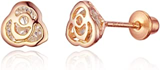 Rose Gold Tone Rose Cubic Zirconia Screwback Baby Girls, No Color, Size No Size