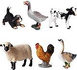 Figuras de animales 6 piezas de plástico realista Aves Figurines Set Incluye perro, ganso, etc. Proyecto Ciencia Ternero Holstein, juguetes de aprendizaje educativos, regalo de cumpleaños for los niño