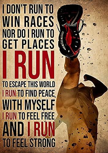 i dont run för att vinna tävlingar eller springa för att få platser i run för att må stark affisch, vardagsrumsväggdekoration, sovrum, badrum, kök, dekoration, ramlös 20 cm x 25 cm