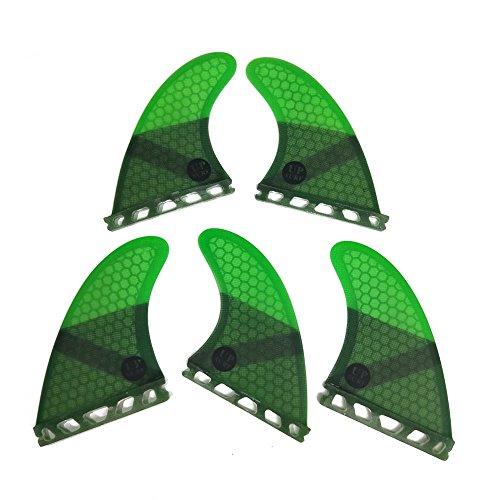 UPSURF Tabla de Surf Tri - Quad Fin Set Future Aletas Fibra de Vidrio Aletas Thruster (Verde K2.1)